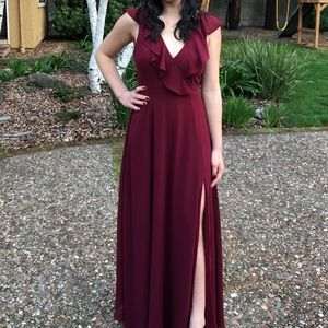 Lulu's Burgandy Ruffled Maxi Dress | Small